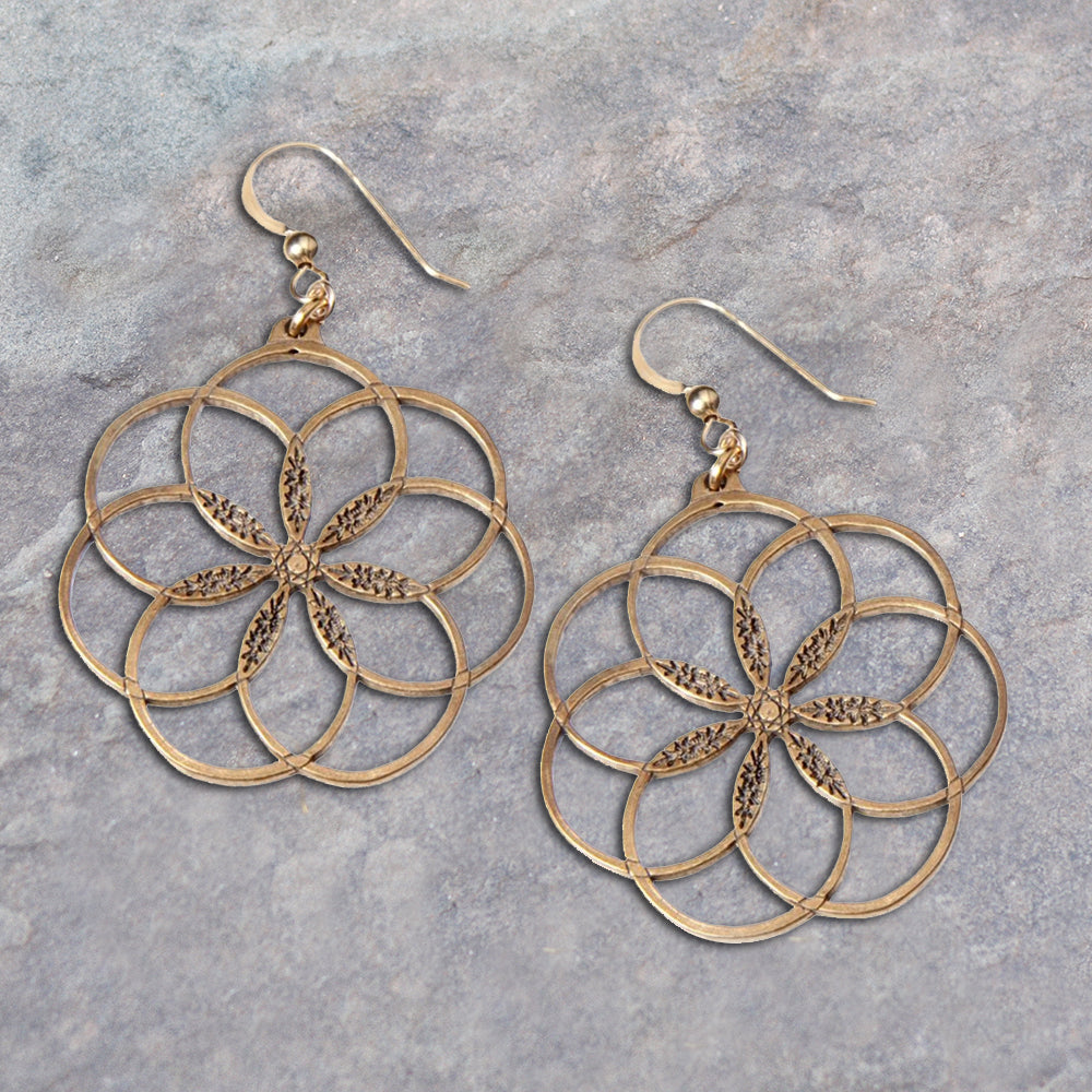 Bronze Seven Ring Peace Earrings | Seeds for Kindness