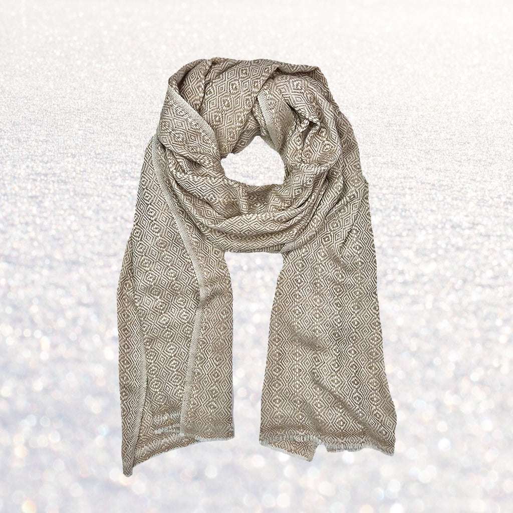 Cashmere Scarf Champagne Chevron | Changing Tides