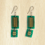 Circuit Board Double Drop Earrings | Seeds for Kindness | Upcycled, Repurposed, Reimagined