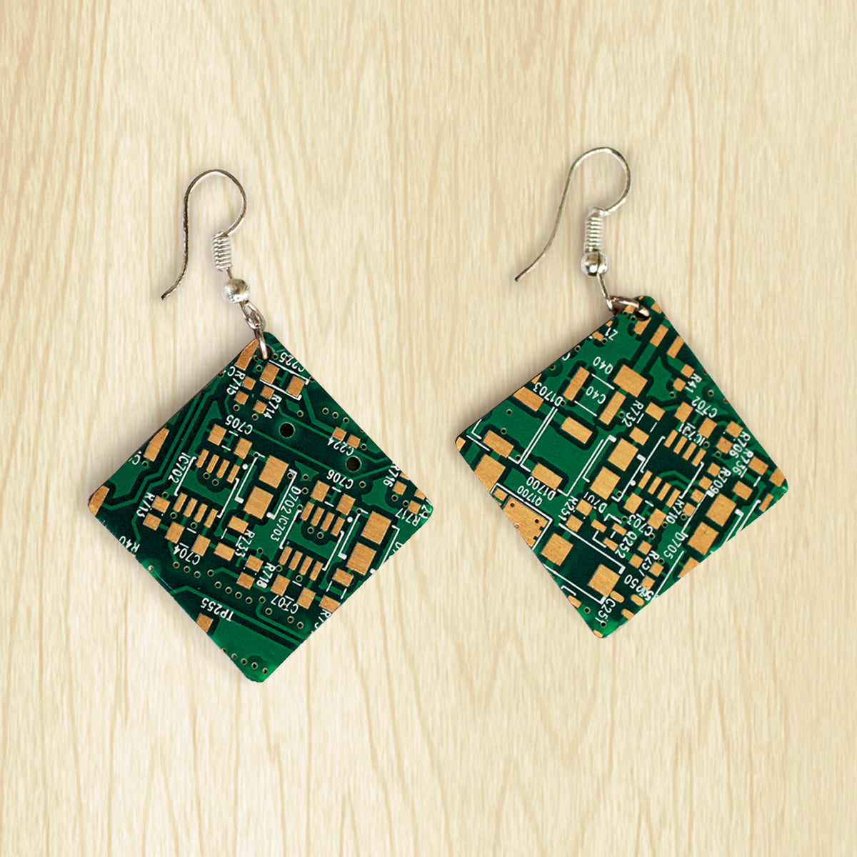 Circuit Board Square Earrings | Seeds for Kindness | Upcycled, Repurposed, Reimagined