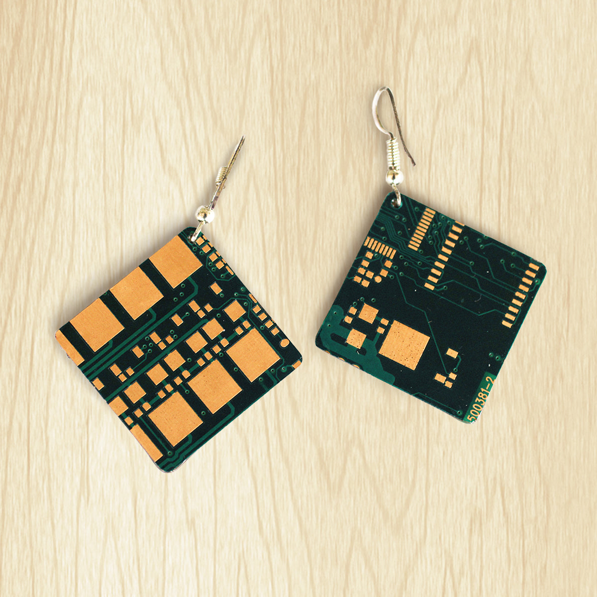 Circuit Board Square Earrings | Upcycled, Recycled, Repurposed, Reimagined | Changing Tides
