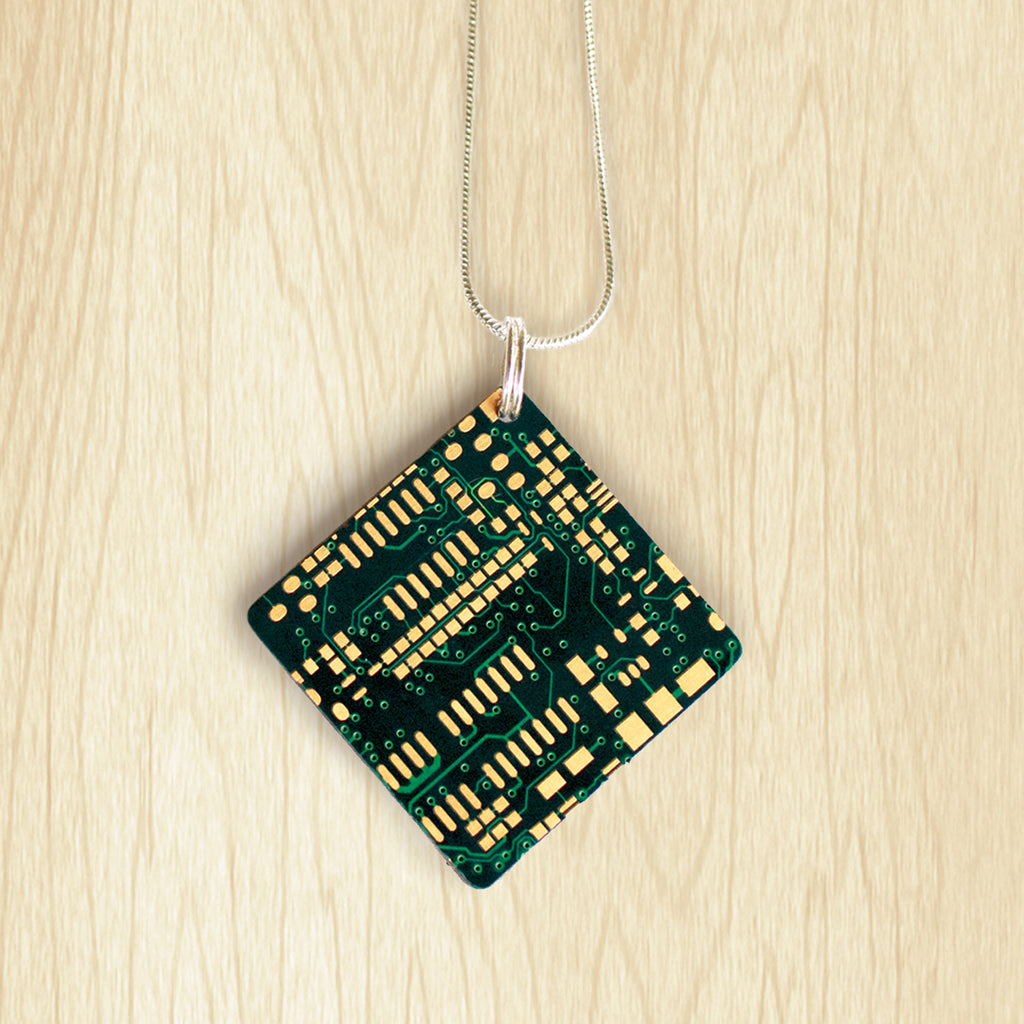 Circuit Board Square Pendant | Upcycled, Recycled, Repurposed, Reimagined | Changing Tides