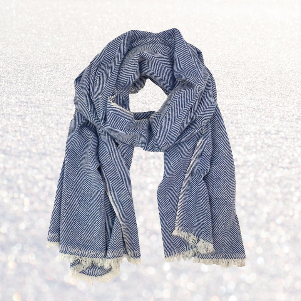 Cashmere Scarf - Denim Herringbone | Upcycled, Recycled, Repurposed, Reimagined | Changing Tides