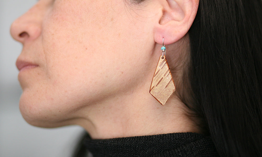 Birch Earrings with Turquoise