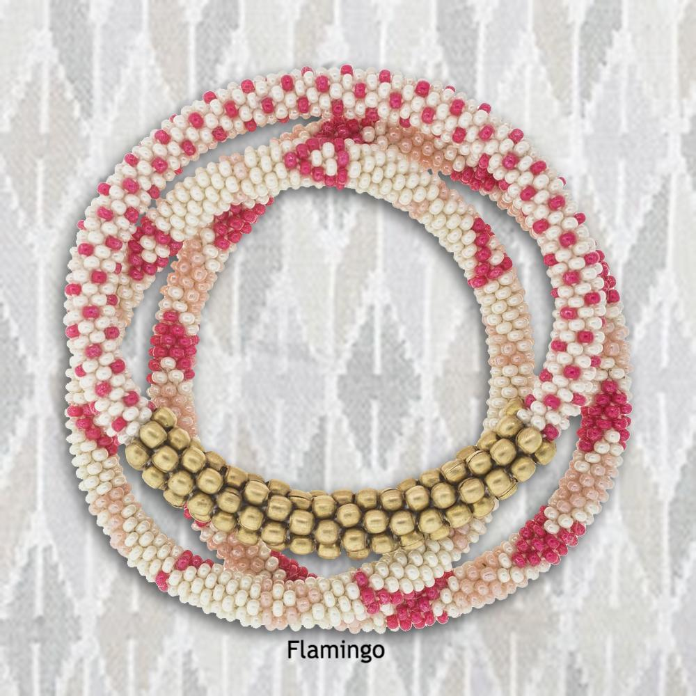 Roll-On Bracelets Set of 3 in Flamingo | Seeds for Kindness