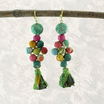 Sari Bead Cluster Earrings | Upcycled, Recycled, Repurposed, Reimagined | Changing Tides