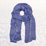 Cashmere Scarf - Lapis Herringbone | Upcycled, Recycled, Repurposed, Reimagined | Changing Tides
