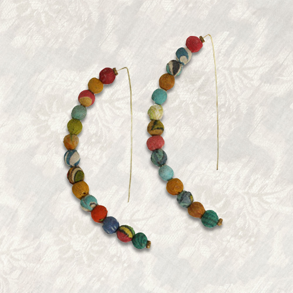 Sari Bead Linear Arc Earrings | Upcycled, Recycled, Repurposed, Reimagined | Changing Tides