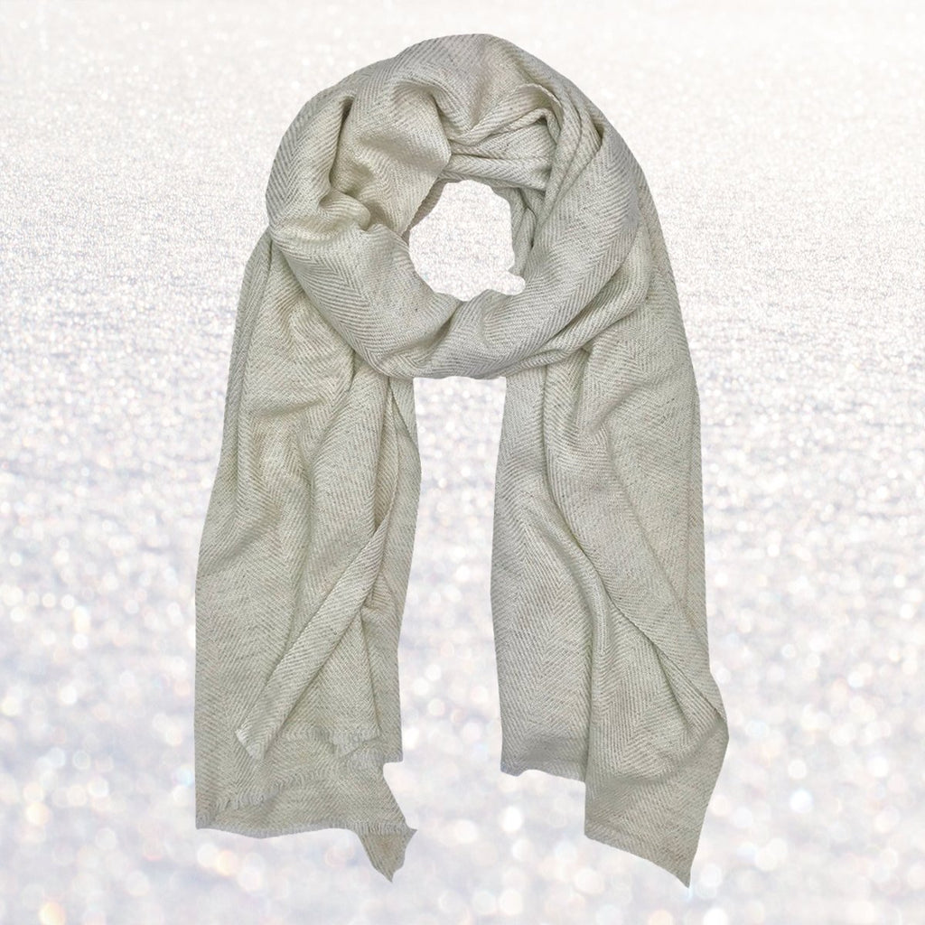 Cashmere Scarf Pearl Herringbone | Changing Tides