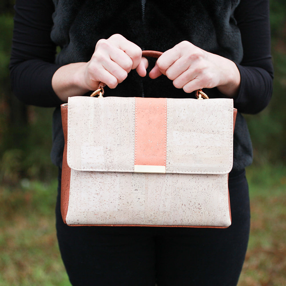 Cork Phoebe Satchel | Upcycled, Recycled, Repurposed, Reimagined | Seeds for Kindness