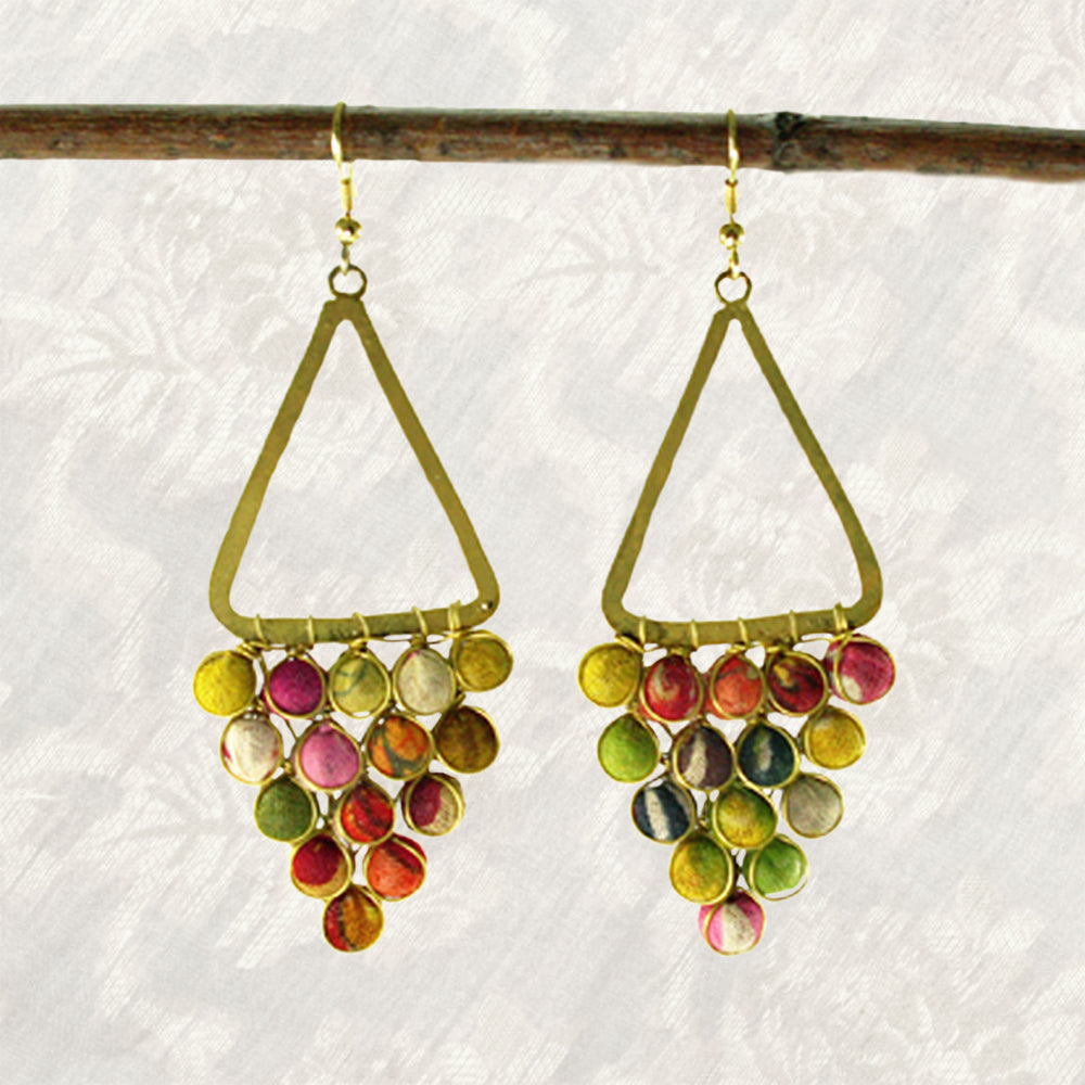 Sari Bead Chandelier Earrings | Upcycled, Recycled, Repurposed, Reimagined | Seeds for Kindness