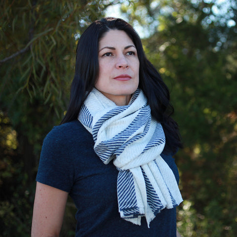 Cashmere Scarf: Nautical Stripe