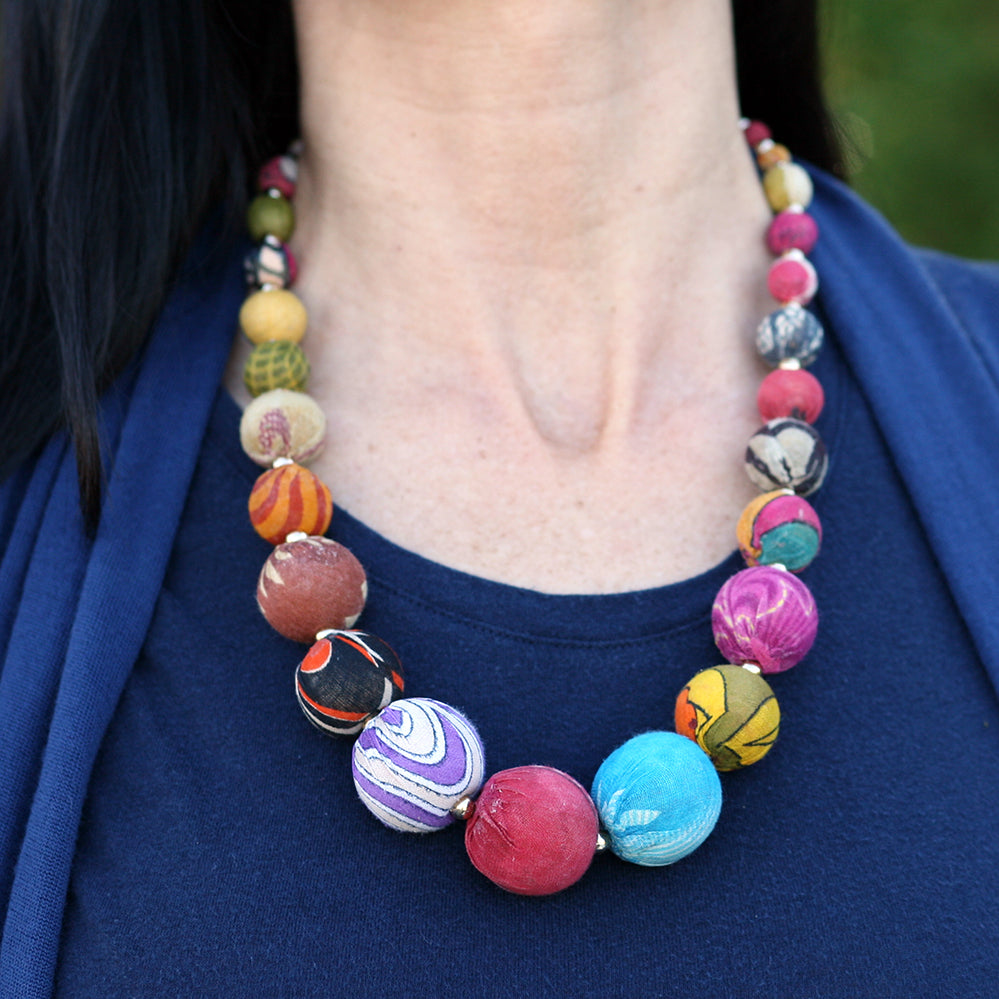 Sari Bead Statement Necklace | Upcycled, Recycled, Repurposed, Reimagined | Changing Tides