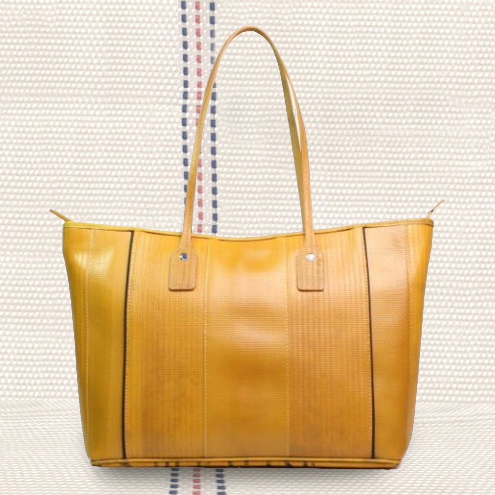 Firehose Yellow Tote  | Upcycled, Recycled, Repurposed, Reimagined | Changing Tides