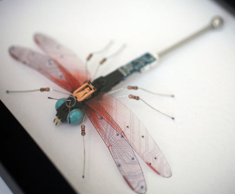 Circuit Board Red Dragonfly | Upcycled, Recycled, Repurposed, Reimagined | Changing Tides
