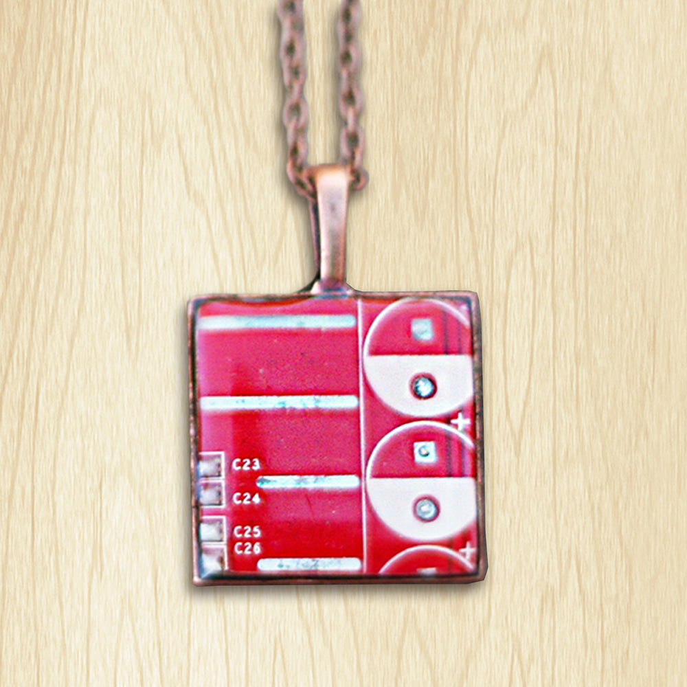 Circuit Board Red Necklace