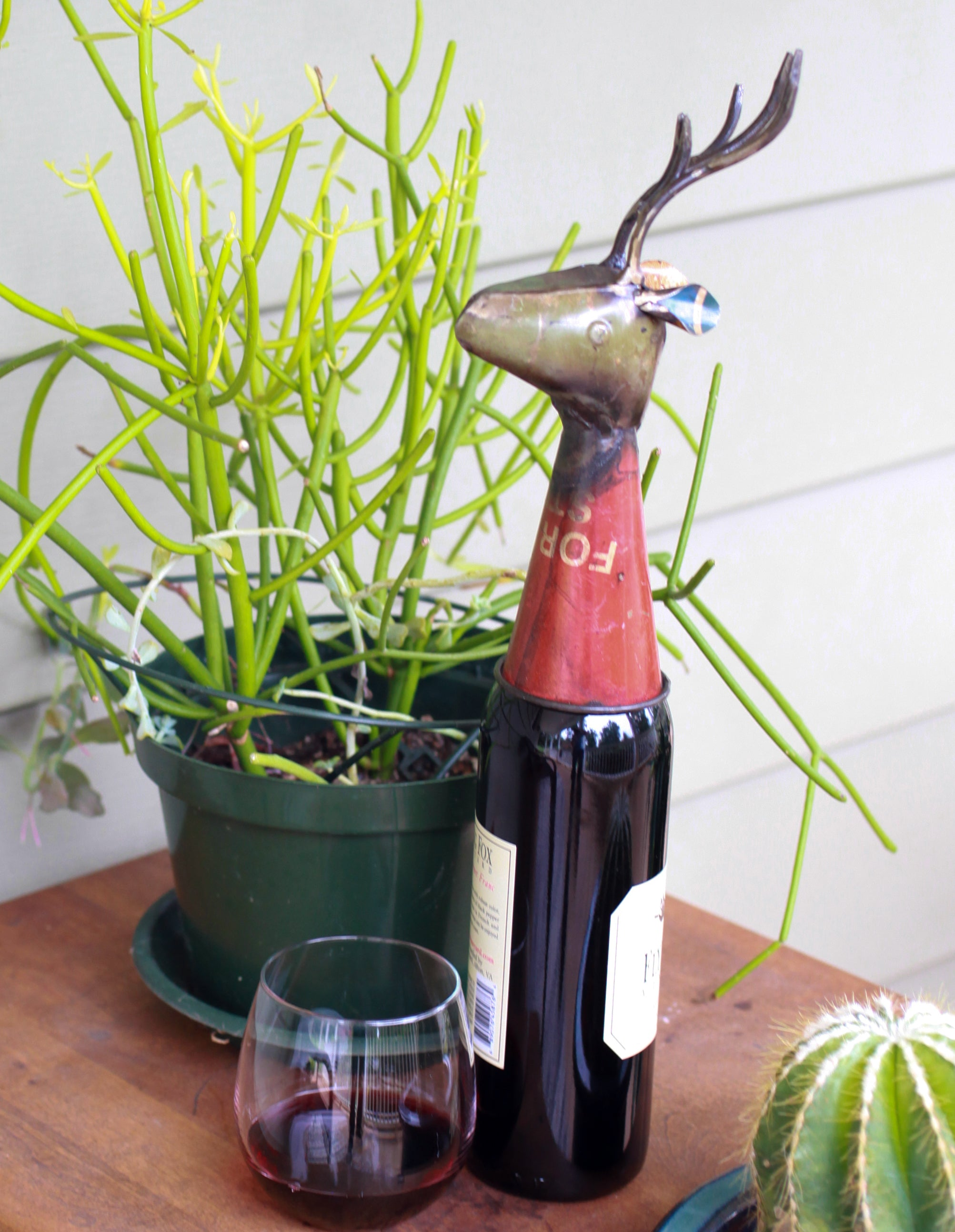 Recycled Deer Bottle Topper with Wine Bottle -  by Seeds for Kindness