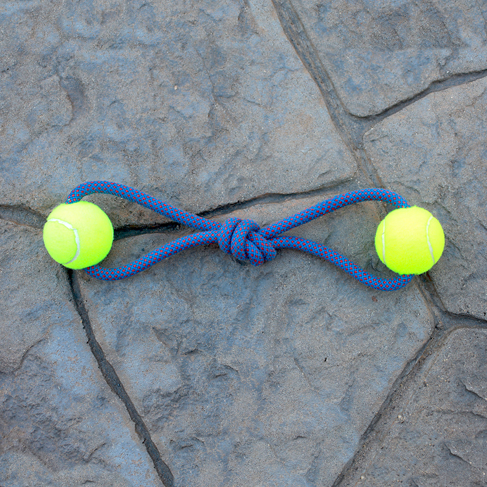 Climbing Rope Dog Toy - Double Ball | Seeds for Kindness | Upcycled, Recycled, Repurposed, Reimagined