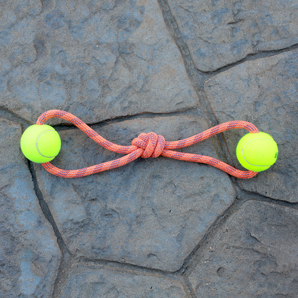 Climbing Rope Dog Toy - Double Ball | Changing Tides | Upcycled, Recycled, Repurposed, Reimagined