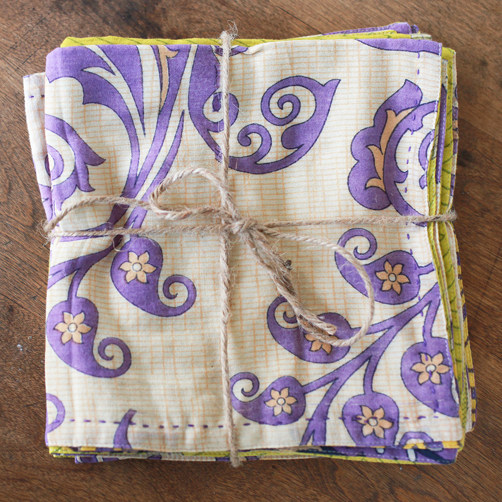 Kantha Napkin Set - Daydream | Upcycled, Recycled, Repurposed, Reimagined | Seeds for Kindness