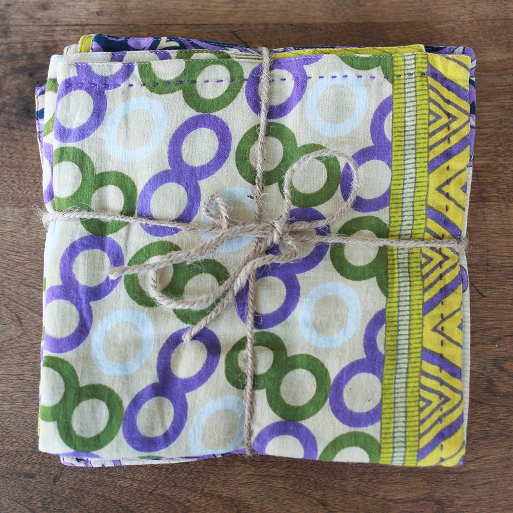 Kantha Napkin Set - Spring Grass | Upcycled, Recycled, Repurposed, Reimagined | Changing Tides