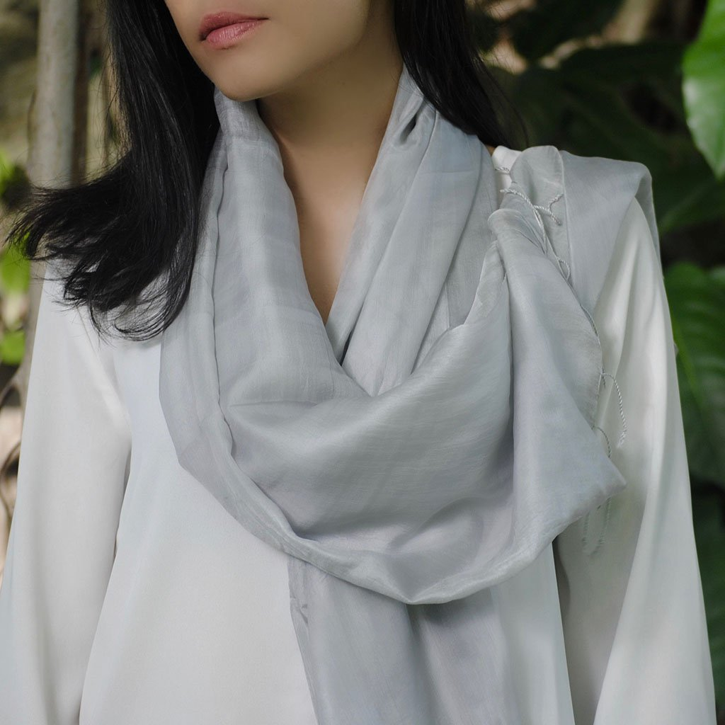Cambodian Khmer Silk Scarf - Silver Moon | Changing Tides