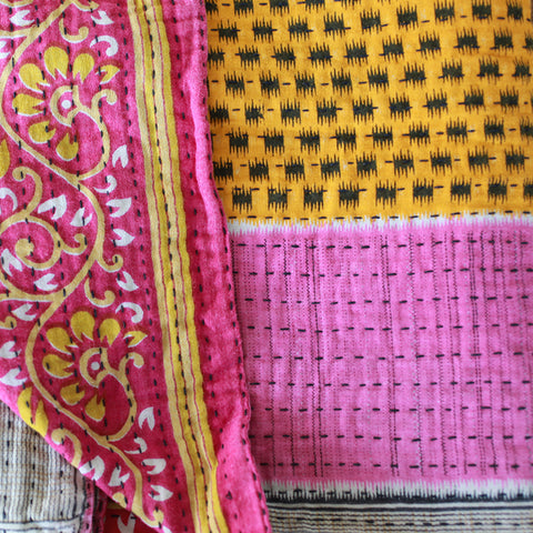 Kantha Table Runner - Magenta | Upcycled, Recycled, Repurposed, Reimagined | Seeds for Kindness