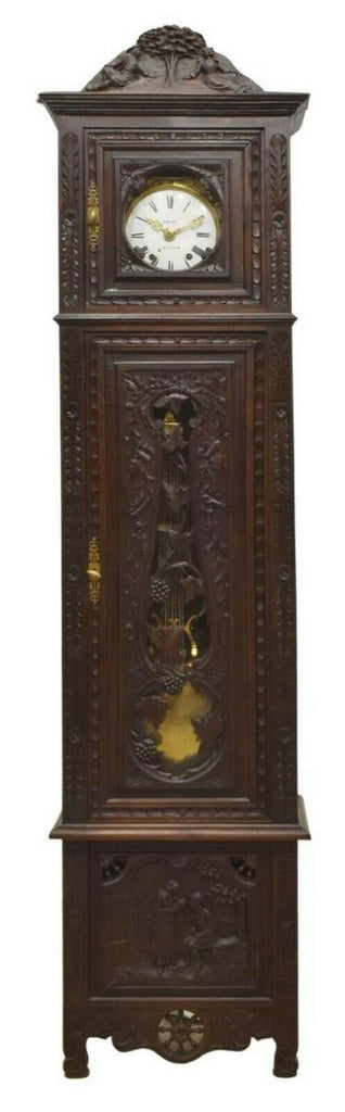 Antique Grandfather Clock French, Brittany Carved Oak Tall Case, 1900's!