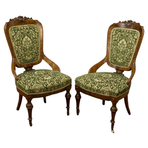Antique Chairs, Side Victorian Carved & Upholstered, Set of Two, Green, 1800s!