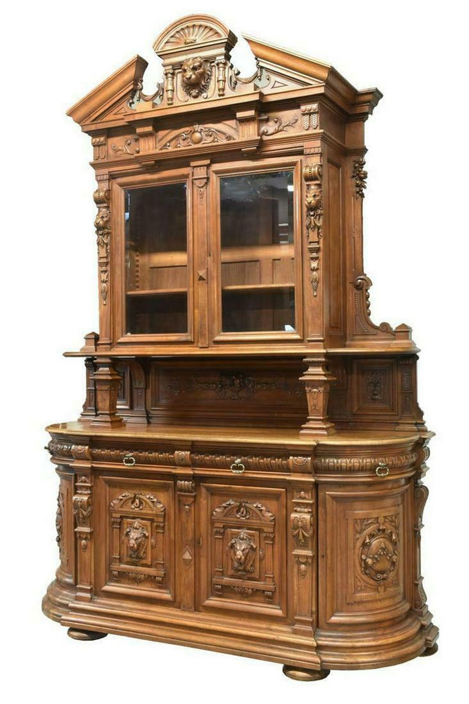 Beautiful French Henri II Style Marble-Top Walnut Server, 19th Century (1800s)!