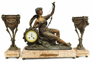 Antique Mantel Clock, French Figural Marble Mantel Clock & Garnitures, Gorgeous!
