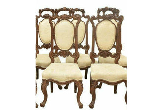 Antique Chairs, Carved Oak, Four Continental Dining Chairs, Vintage / Antique!!