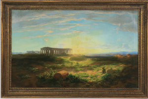 "Painting, Antique,19th Century Oil on Canvas 'View of Paestum at Sunset', 55""w ( 1800s )"