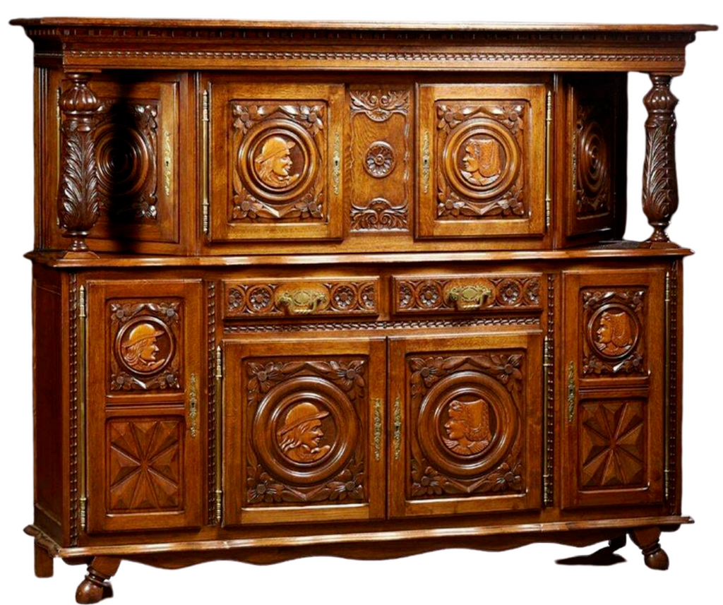 Antique Sideboard, Breton, French Provincial Carved Oak Sideboard, 20th C., Gorgeous!!