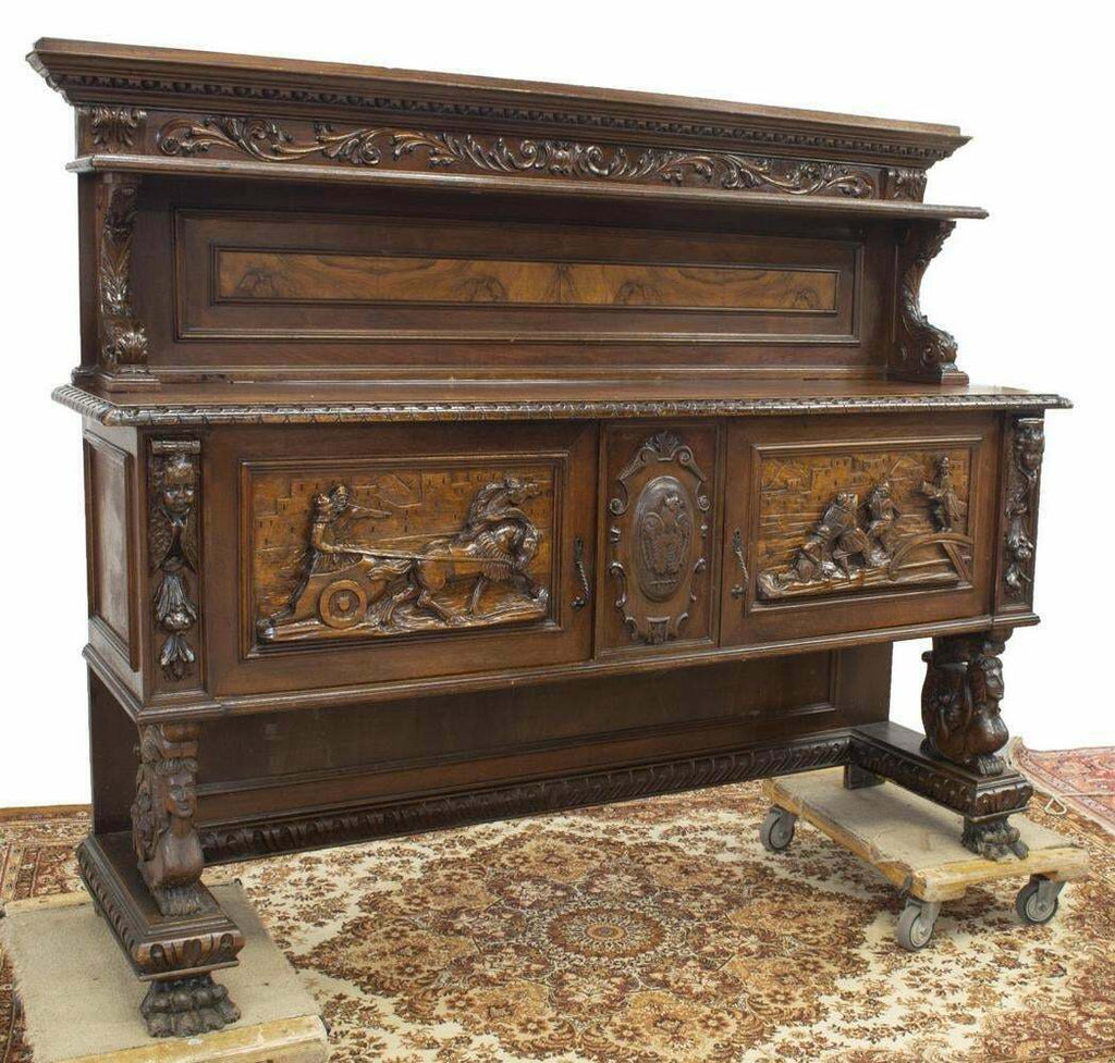 Sideboard, Italian Renaissance Revival, Figural Early 1900s, Handsome Vintage!!