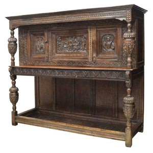 Antique Sideboard, English, Heavily Carved Oak Court,18th-19th C. (1700s) Stunning