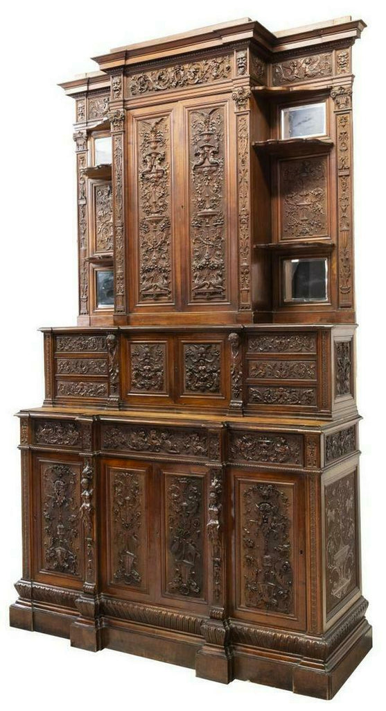 Sideboard, Italian Renaissance Revival Carved, 19th C., 1800s, Impressive Antique!!