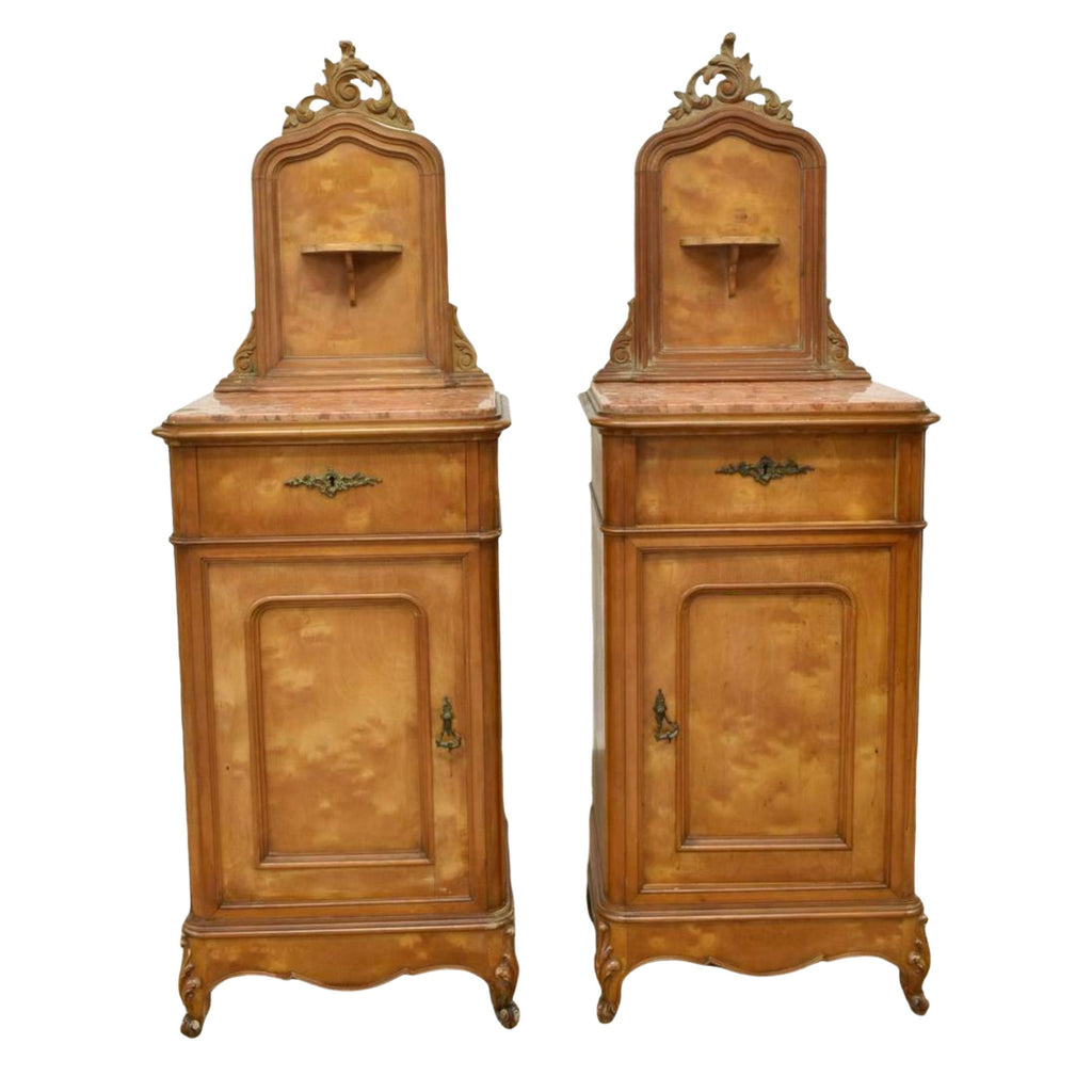 Bedside Cabinets, Antique Louis XV Style Marble Top, Pair, 1800s, Handsome