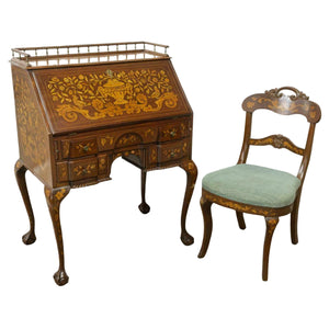 Bureau Desk & Chair, Dutch Sypher & Co. Marquetry Mahogany, 19th C., 1800s, Handsome Set, Antique!!