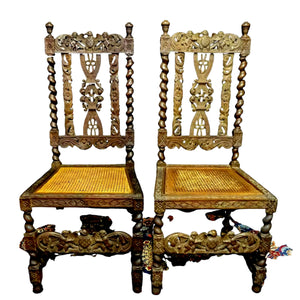 Chairs, Side, Carved Renaissance Style, A Pair of Caned Chairs, Gorgeous Antiques!!!