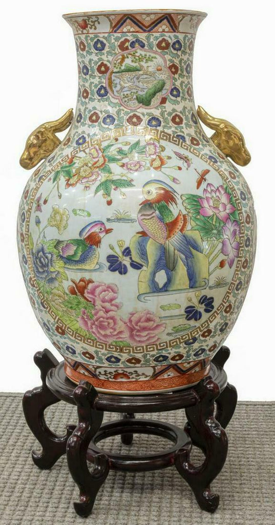 Chinese Vase, Famille Rose Porcelain Handled Large, Gorgeous!