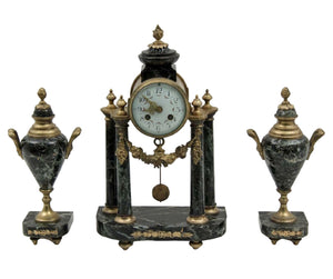 Clock Set, French Bronze and Marble, 3 PC., 19th C., ( 1800s ) Gorgeous Antique