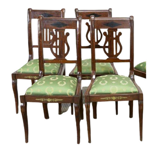 Handsome Antique Chairs, Dining French Empire Style Mahogany, Green, Set of Six early 1900s!!