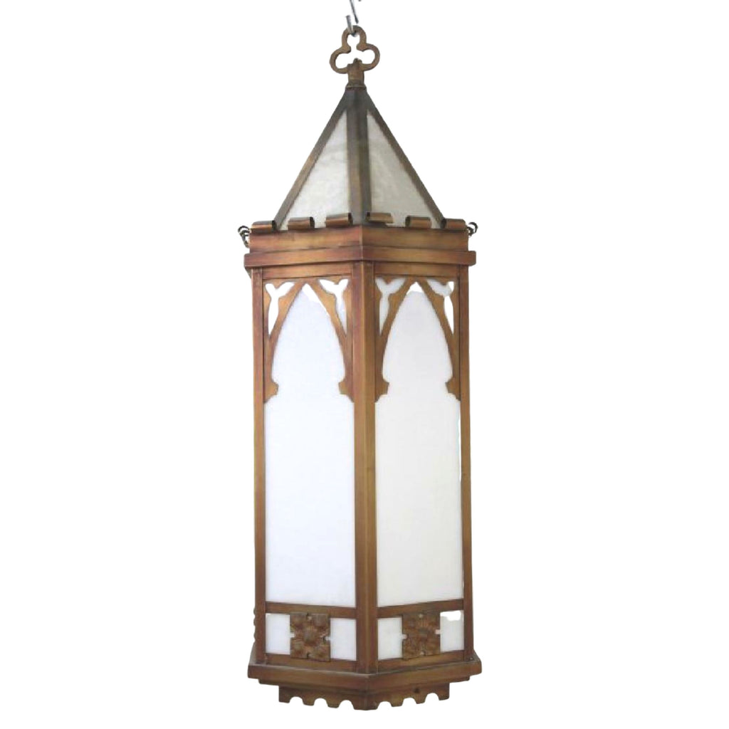 Gothic Style Lantern / Chandelier, Copper & Hexagonal Hall, Hanging, Beautiful!!