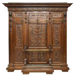 HANDSOME RENAISSANCE REVIVAL CARVED WALNUT HALL TREE, 19th Century ( 1800s )!!!