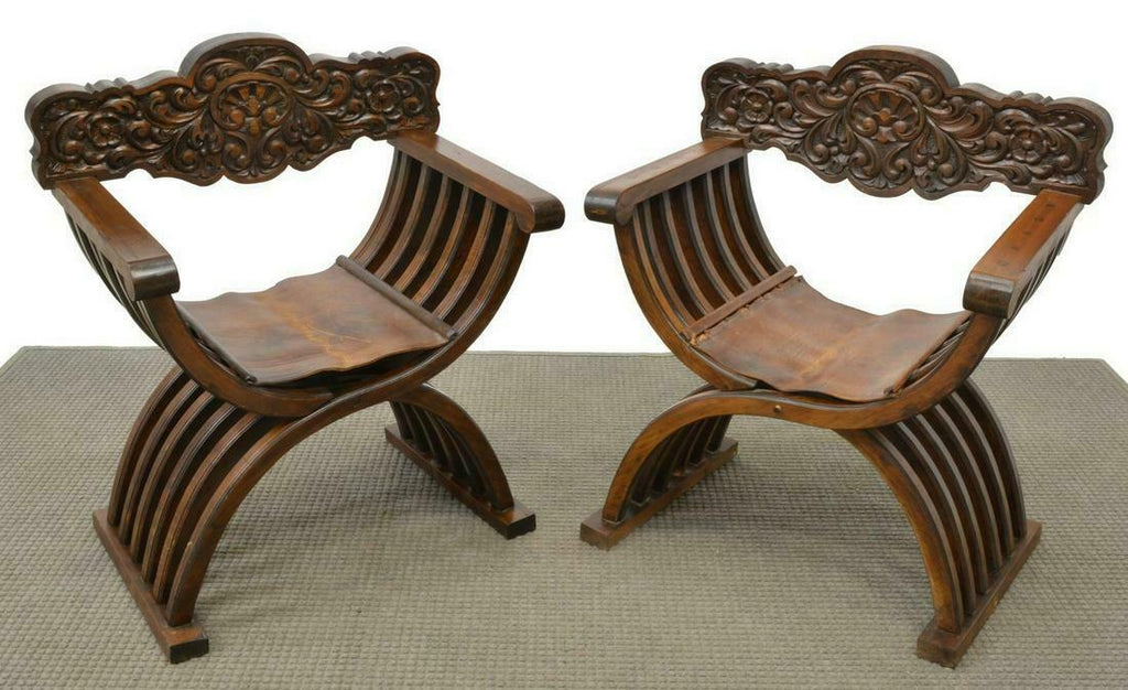 Pair of Charming Renaissance Revival Curule Armchairs!!