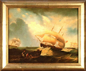"Painting, Oil, Antique Style,""Ships at Sea"", Canvas, Decorative, Awesome!"
