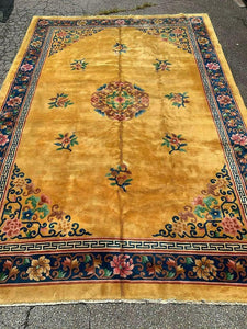 Carpet, Room-size, Chinese Deco, Yellow, Floral Border 14ft 3in x 9ft 11in!!!