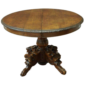 Table, Round, French Carved Oak Extension Pedestal Table, 19th C. 1800s, Gorgeous!