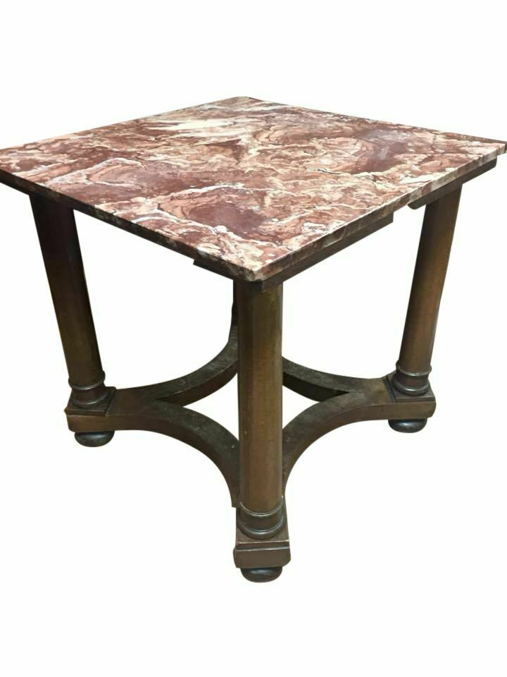 Table, End, Continental Empire Style with Marble Top, 19th / 20th C. Vintage!!